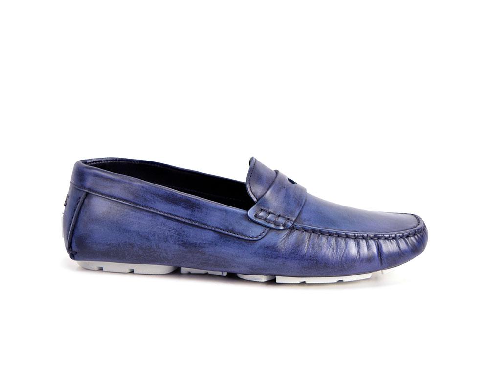 scarpe driver pelle decolorato blu