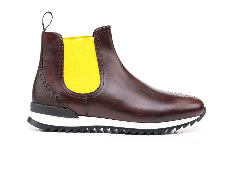 chelsea boot running deco coffee calf black