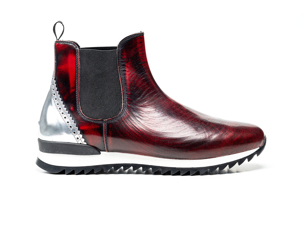 chelsea boot running polished red shiny laminated silver