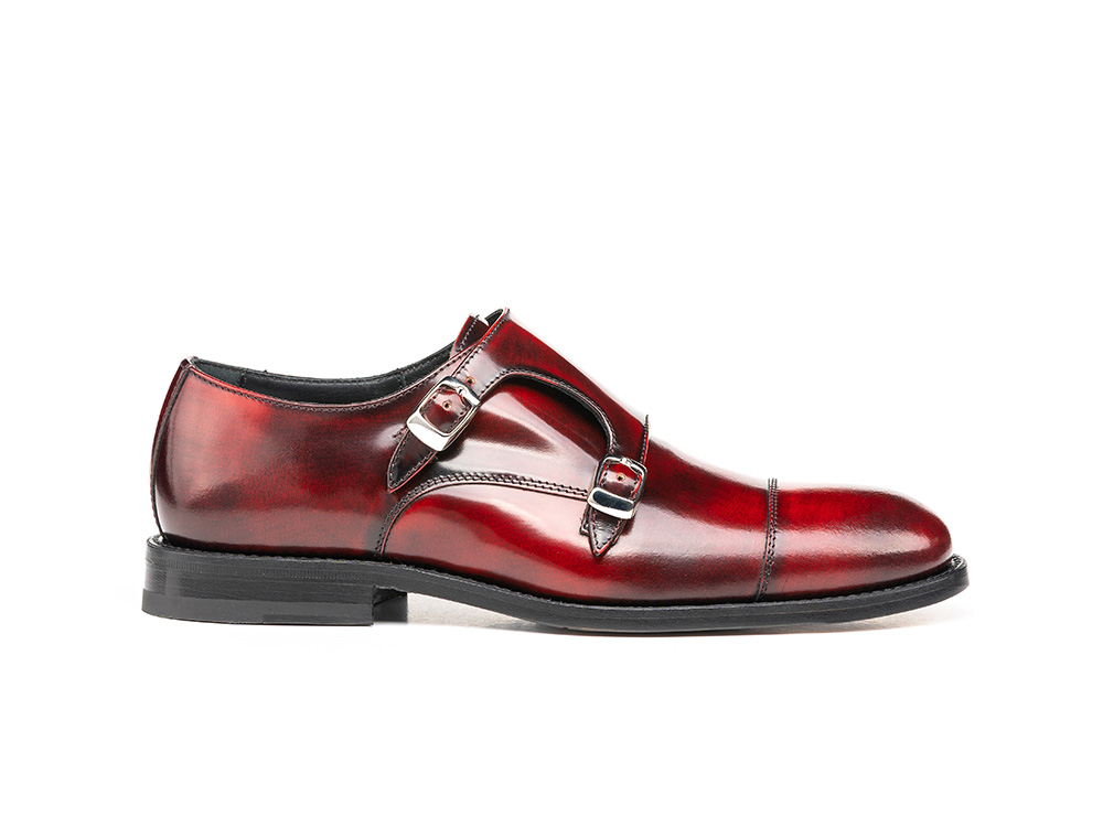 red polished leather woman double monk