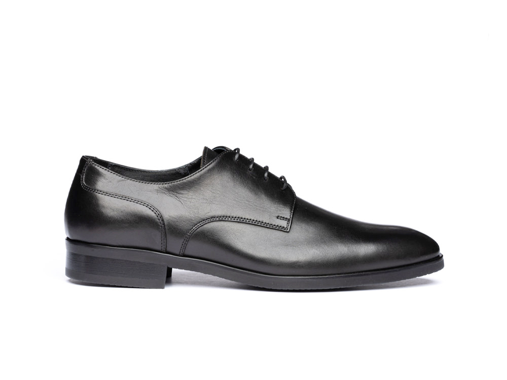 black calf leather men derby plain shoes