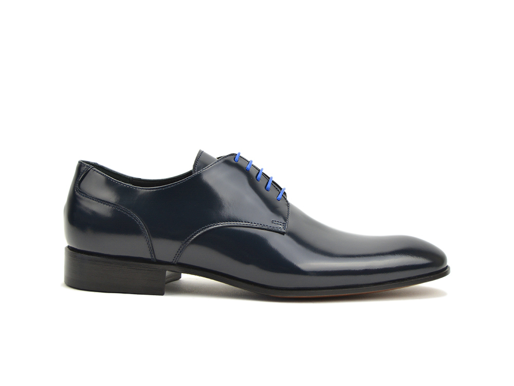 leather men blue polished derby