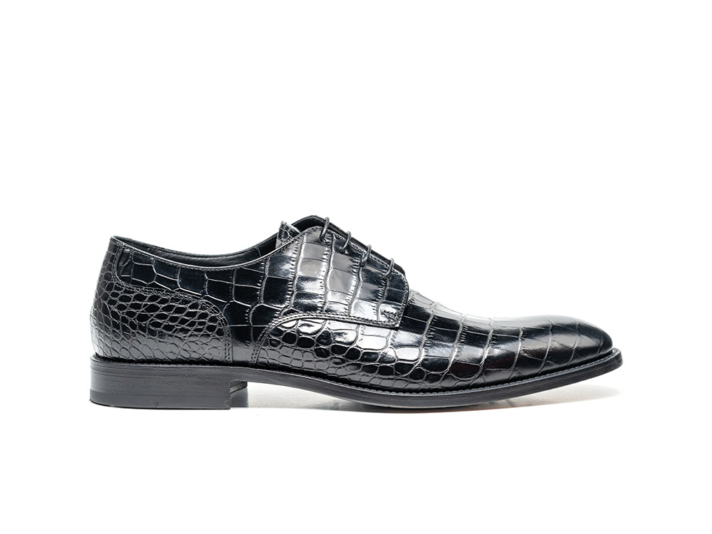 derby plain men crococodile black