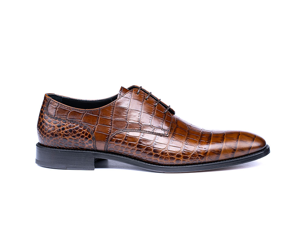 croco pattern leather men derby plain shoes