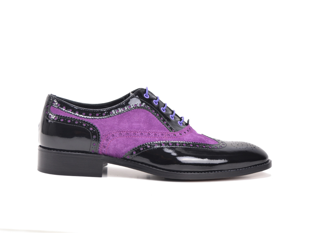 violet suede black patent leather men oxford shoes