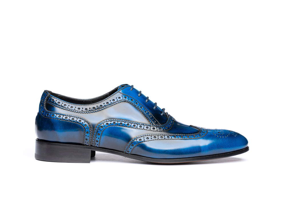 blue polished leather men oxford wing brogue