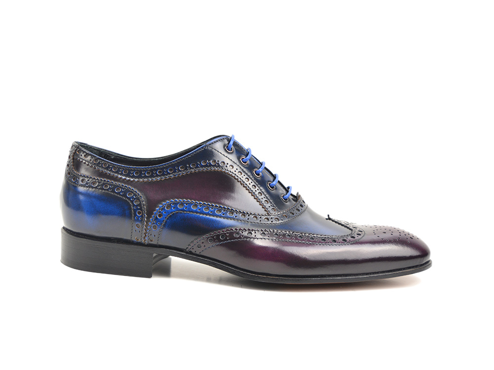 blue purple polished leather men oxford wing brogue