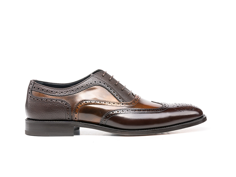 coffee grain bronze polished oxford wing brogue