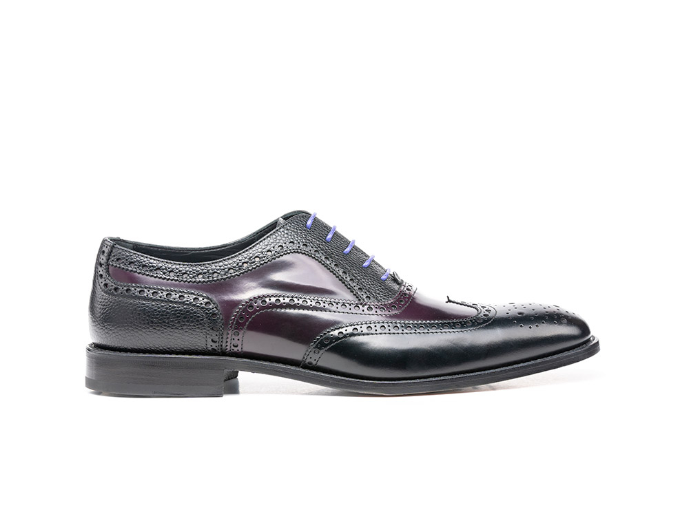 black grain violet polished oxford wing brogue