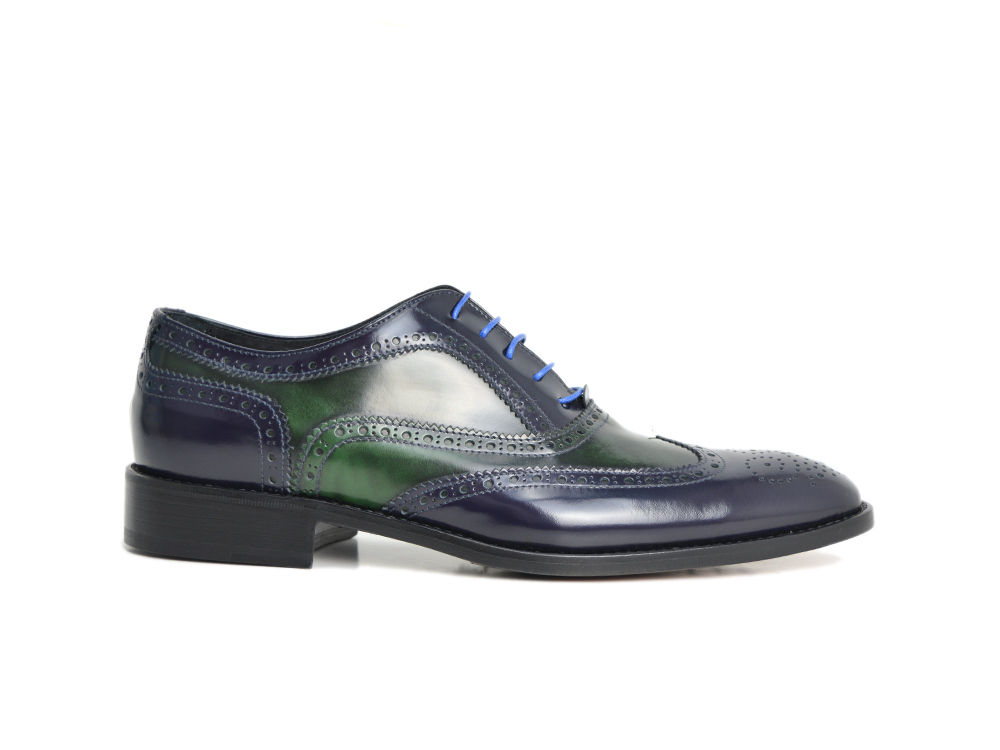 blue and green oxford shoes