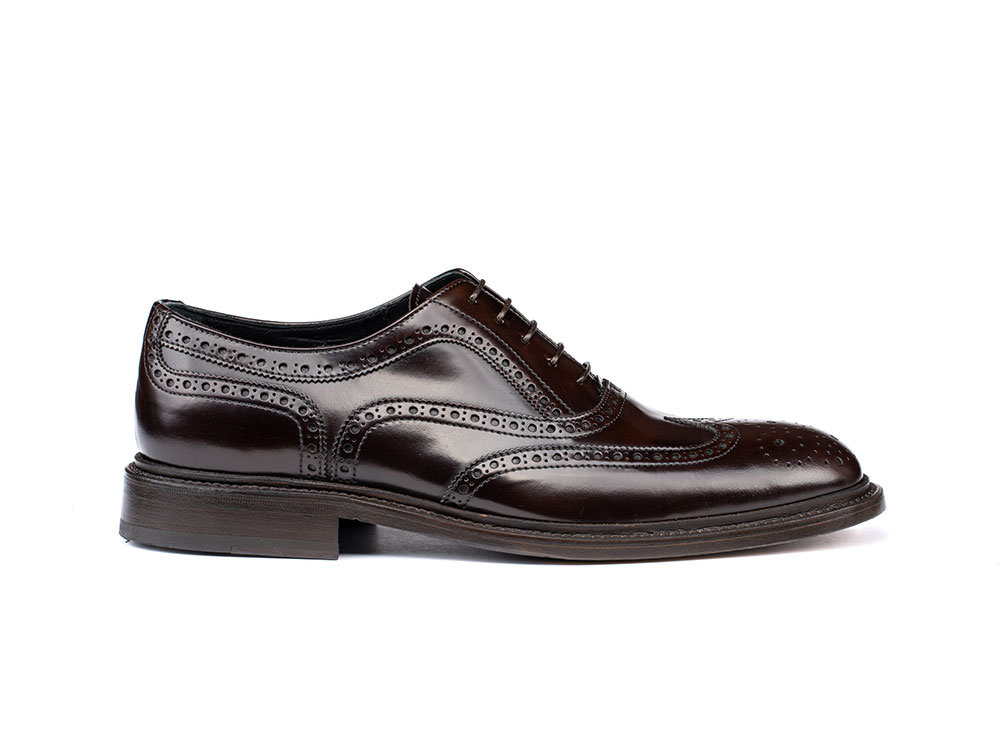 coffee polished leather men oxford wing brogue