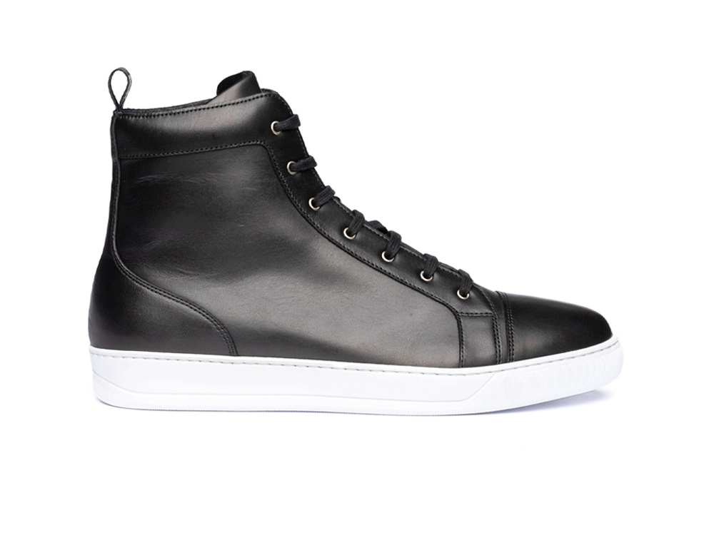 high top black calf sneaker