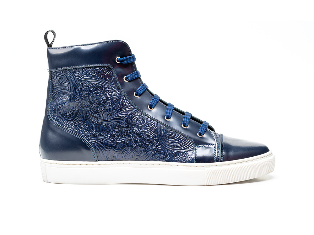 high top navy shiny damask sneaker