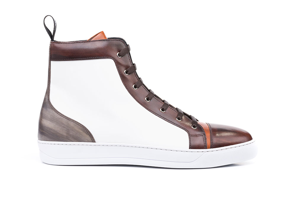 high top sneakers deco multicolor calf white leather