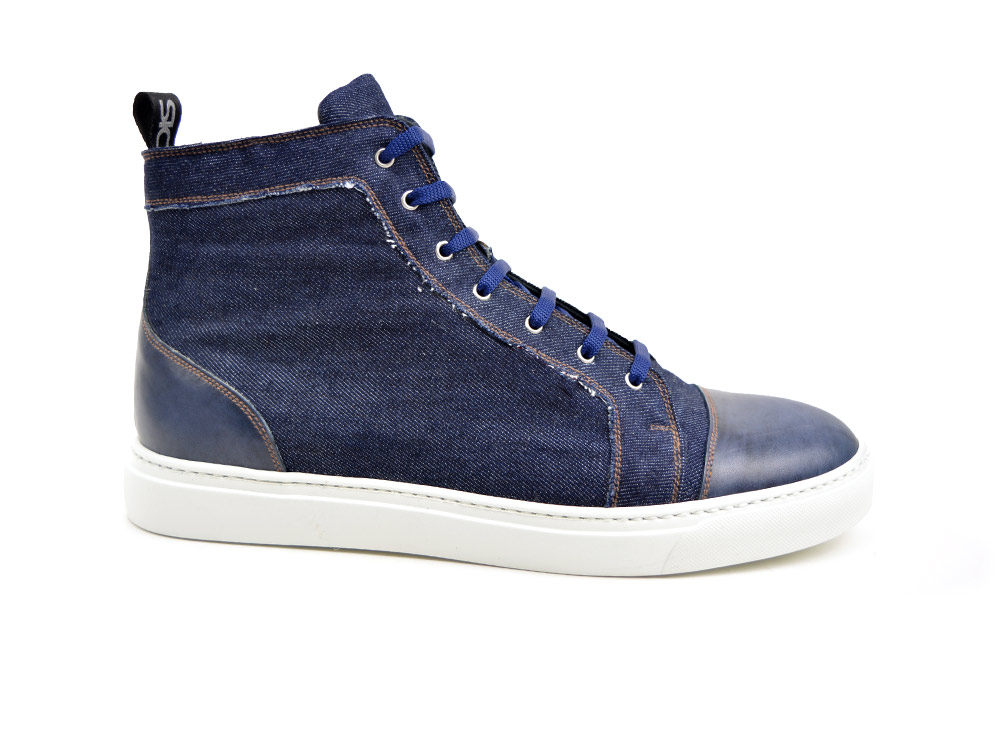 hi top sneakers dark blue denim deco
