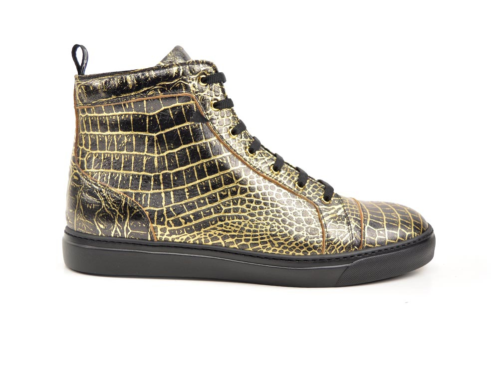 hi top sneakers gold crocodile print leather