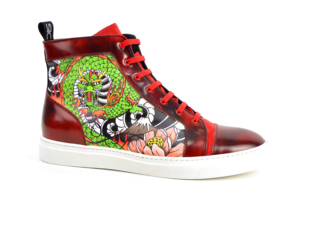 hand painted hi top leather sneakers fire pattern