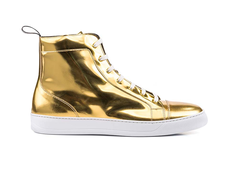 high top sneakers shiny laminated gold leather