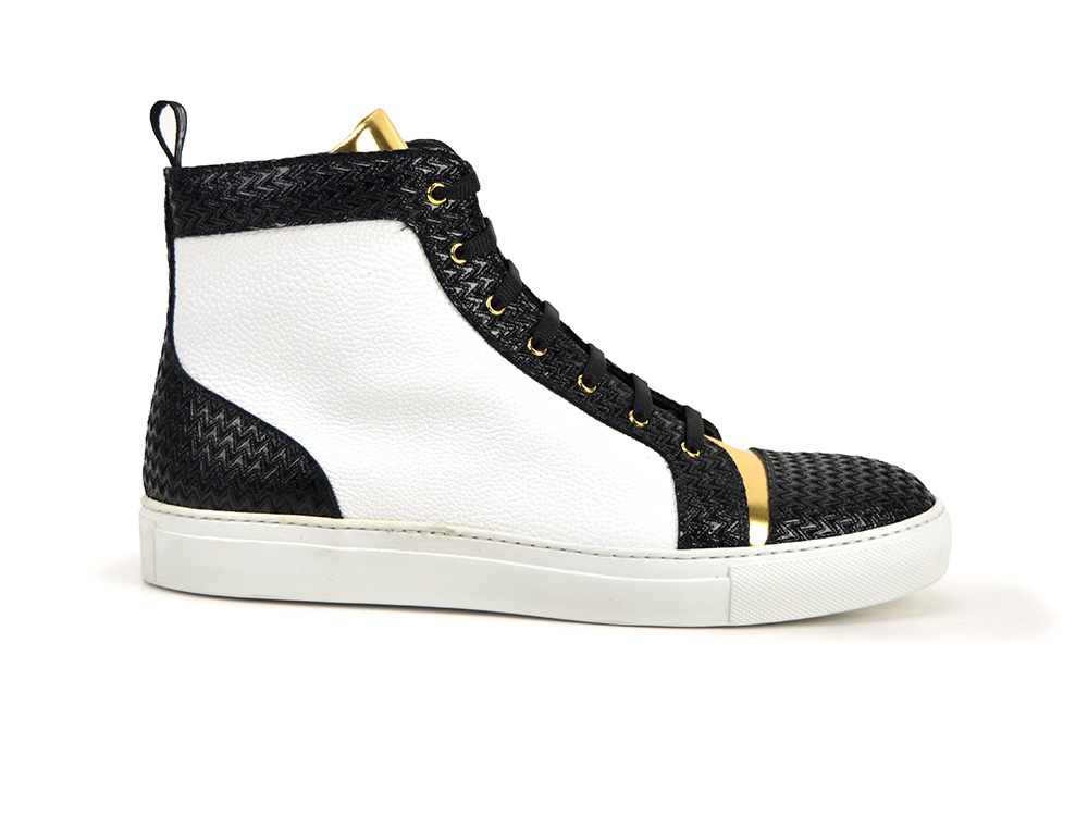 high top sneakers black victory, white grain and gold shiny