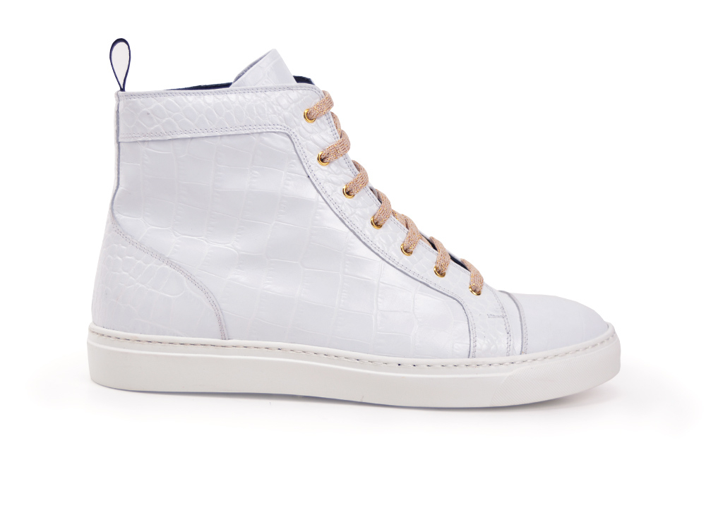 hi top sneakers white printed crocodile leather
