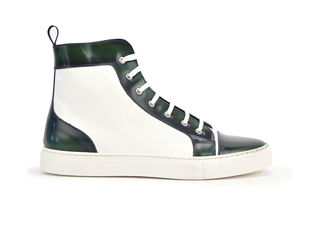high top shiny white polished green sneaker