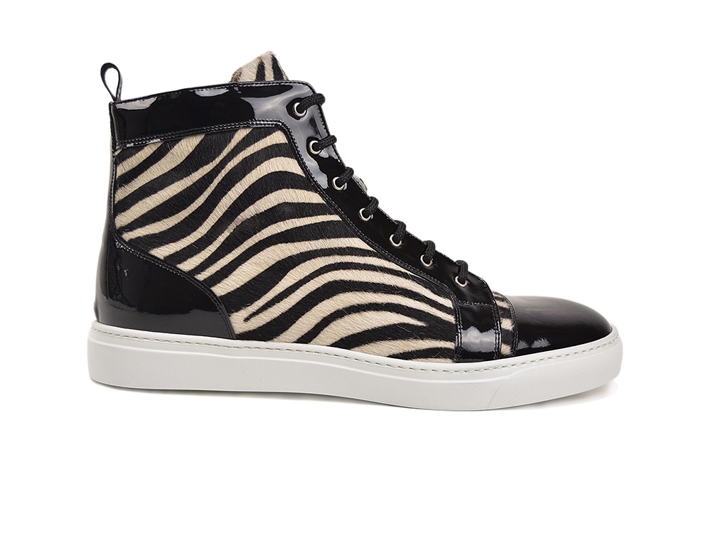 sneakers alta pelle bicolore