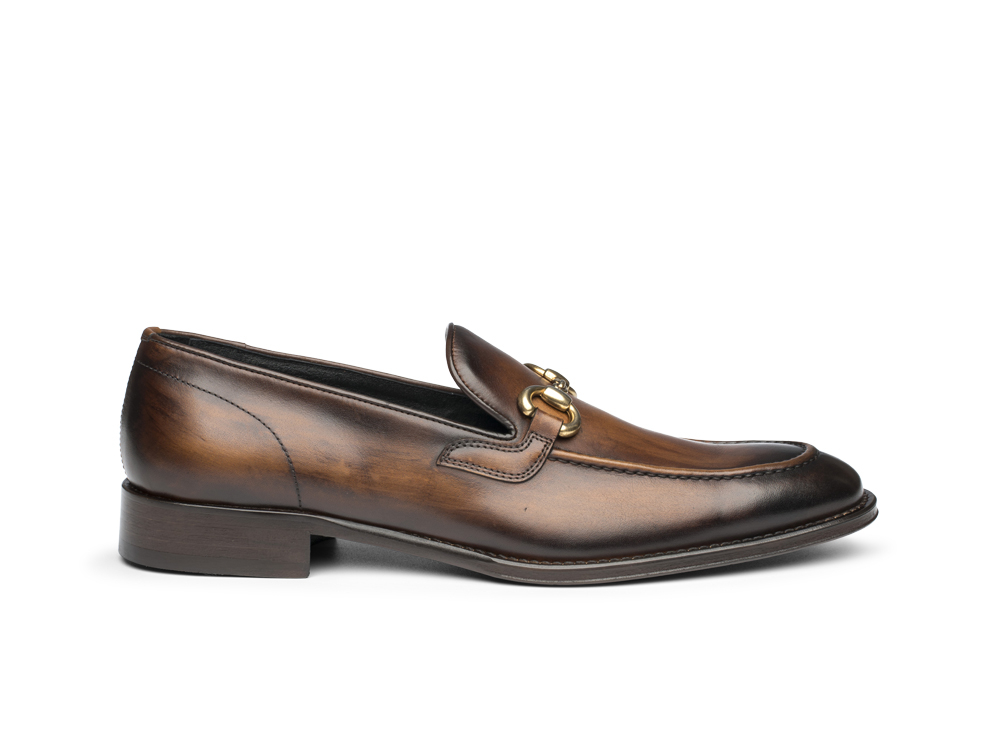 dark brown decò leather men horsebit loafer