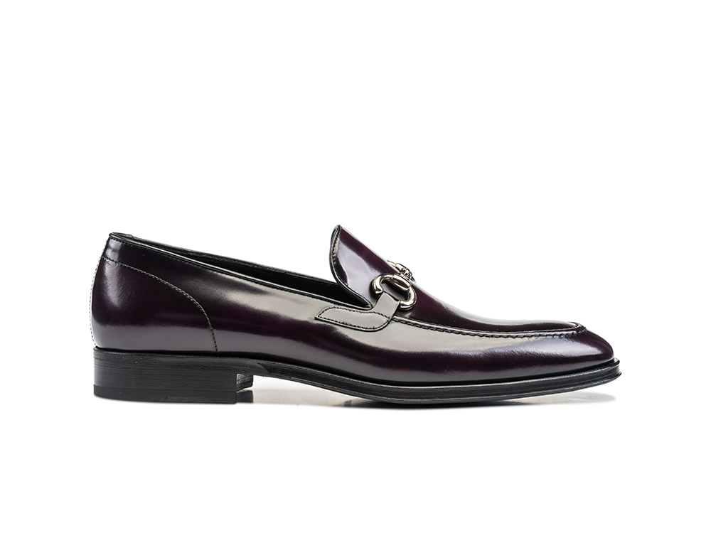 violet polished leather men horsebit loafer