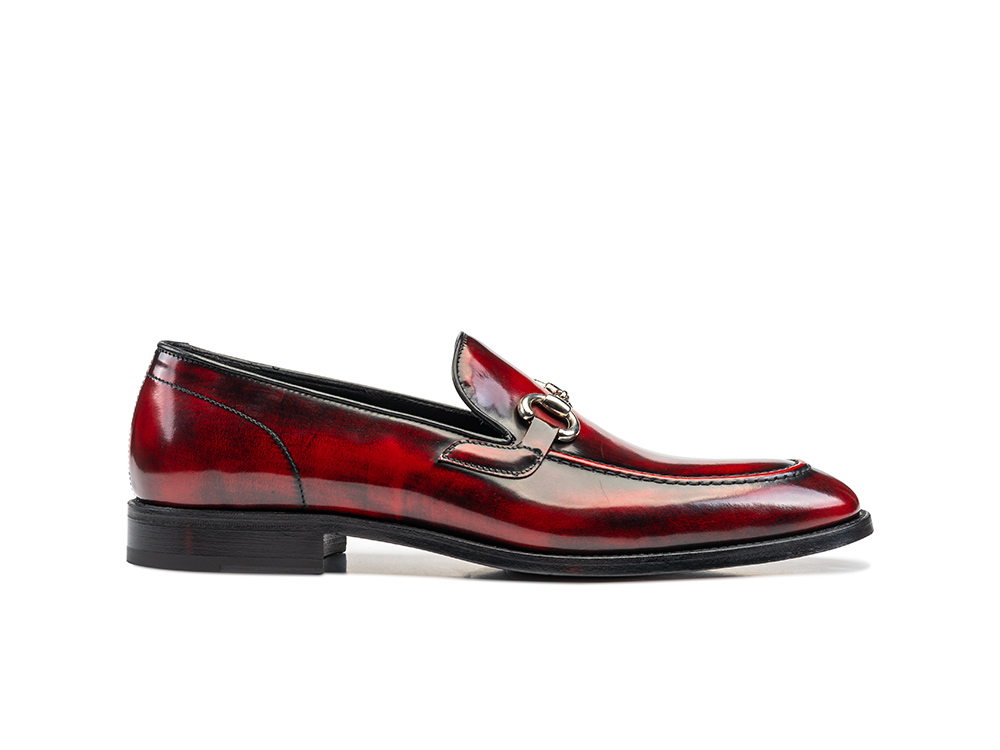 red polished leather men horsebit loafer