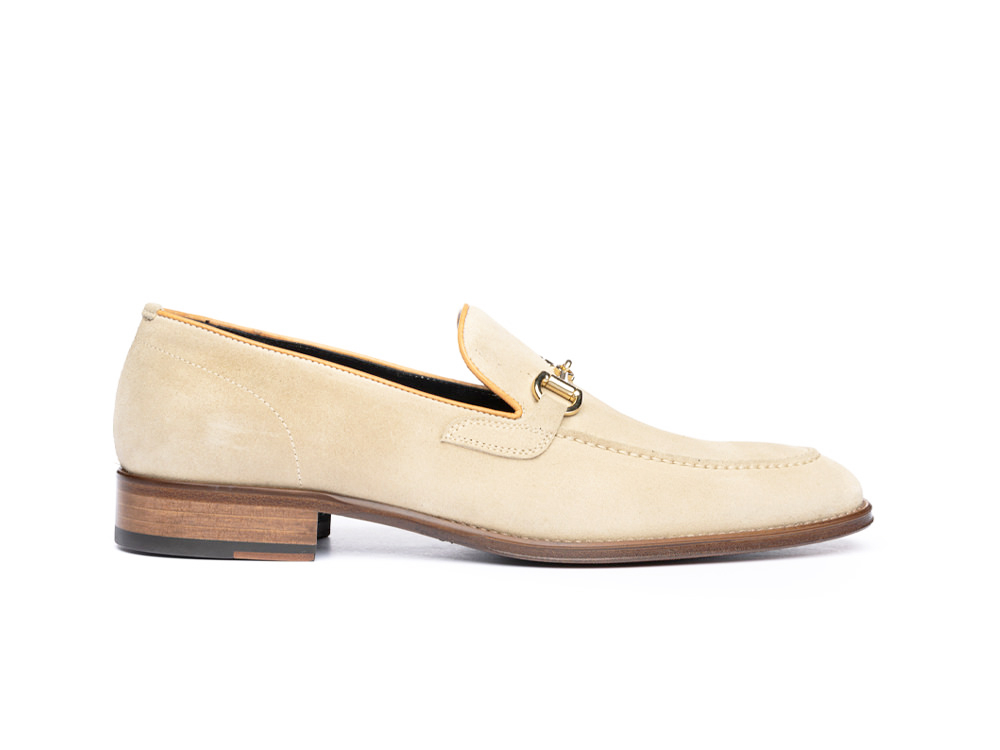sand suede leather men horsebit loafer