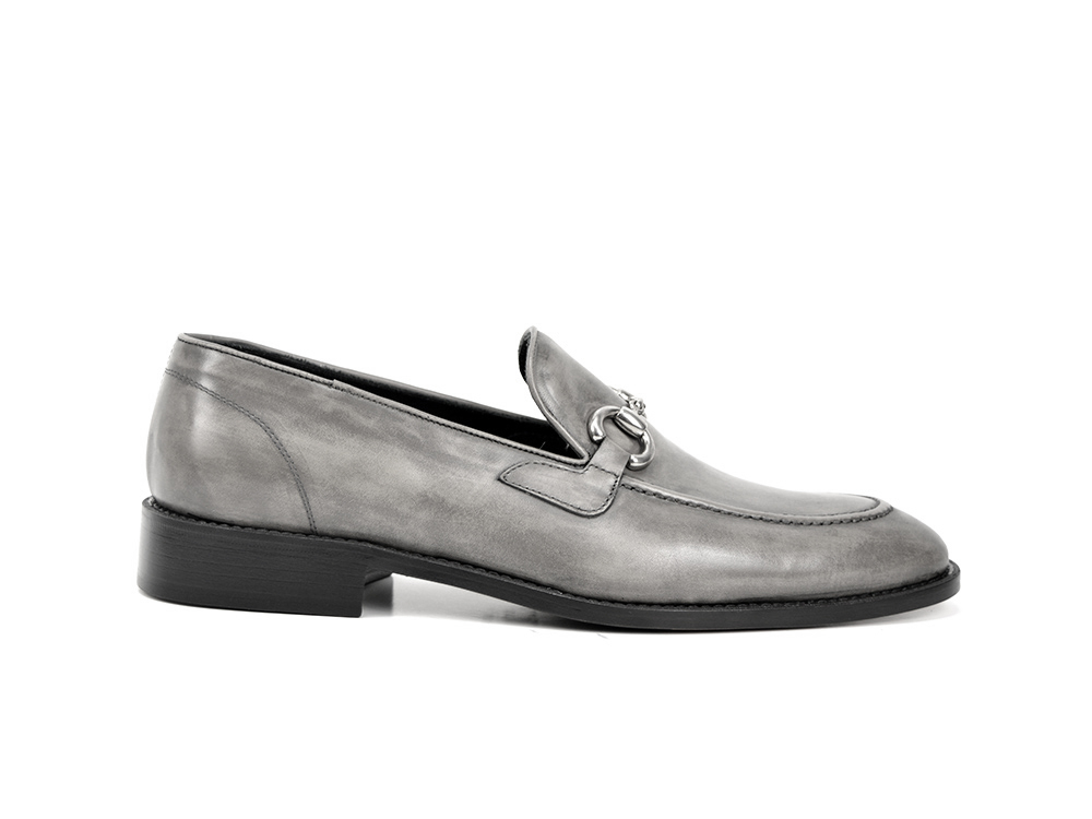 grey deco leather men silver horsebit loafer