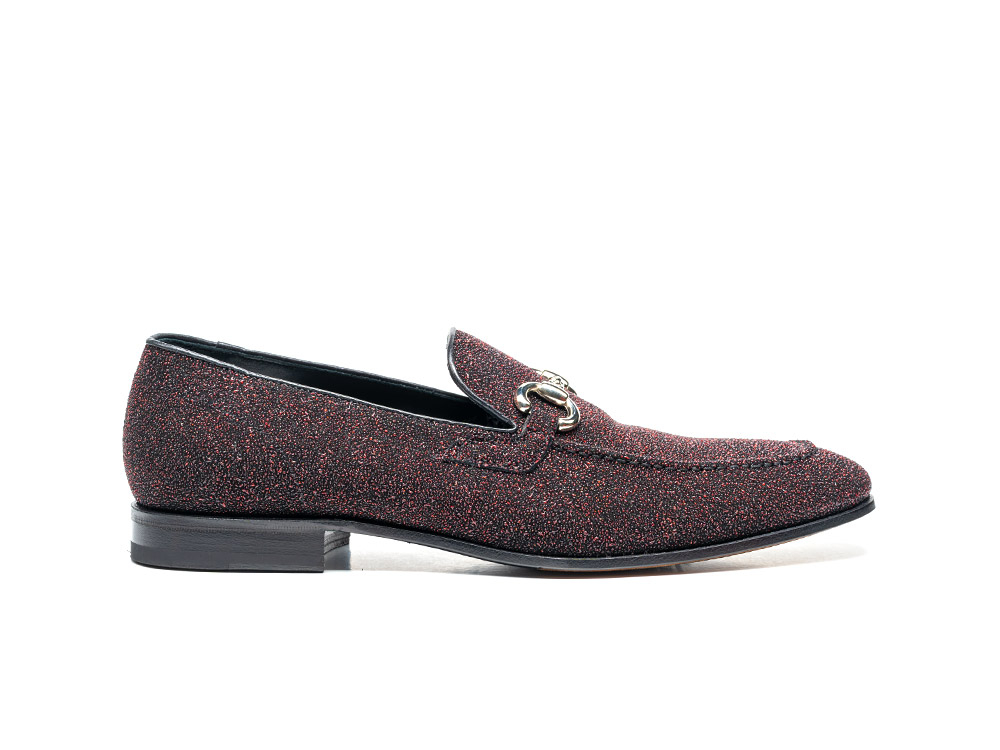 red stardust leather men horsebit loafer