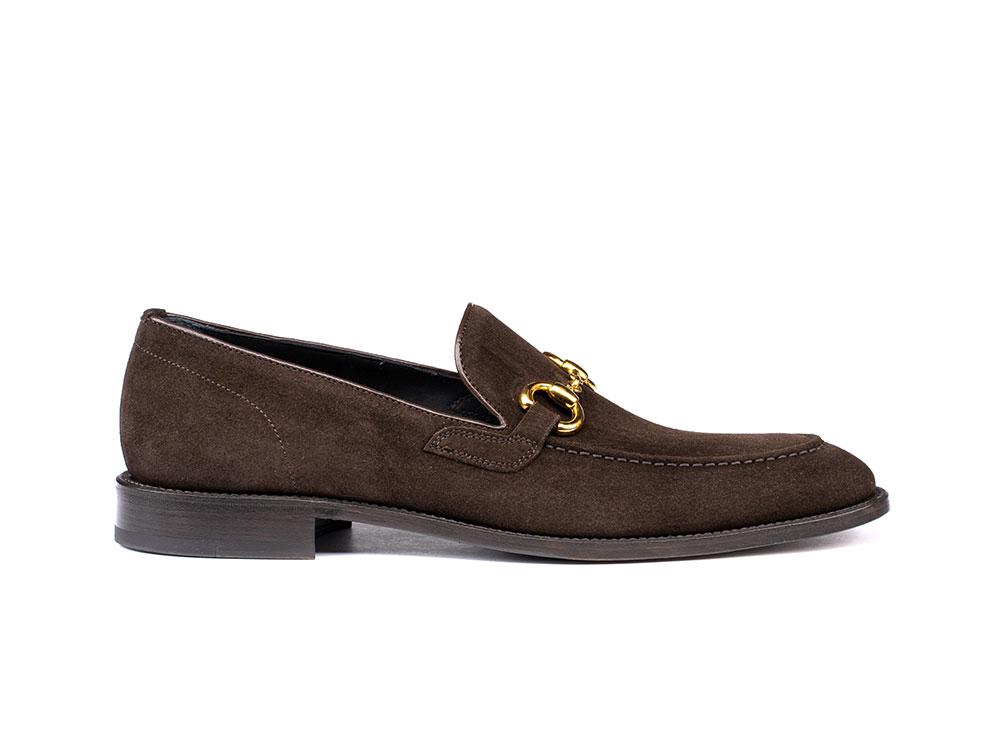 coffee suede leather men horsebit loafer