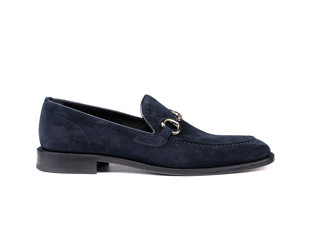 navy suede leather men horsebit loafer