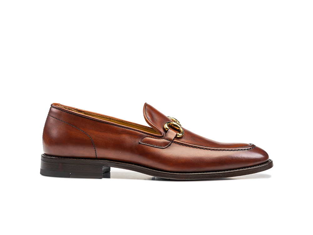 tan decò leather men horsebit loafer