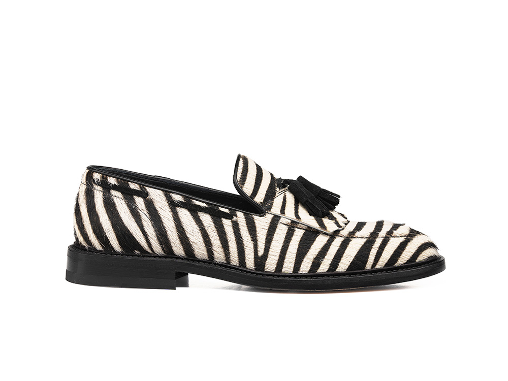 white zebra leather woman tassel loafer