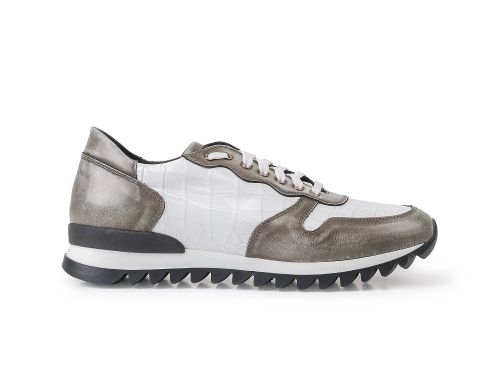 Italo - Low top running crocodile blanc déco gris