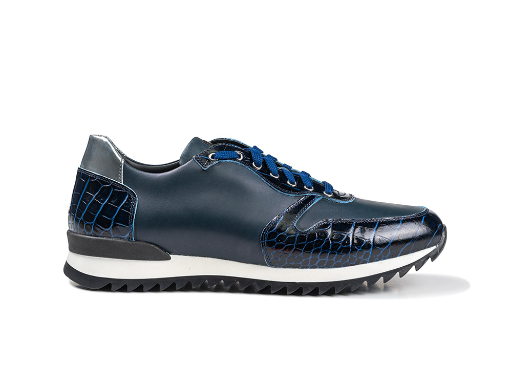low top running blue crocodile pattern calf