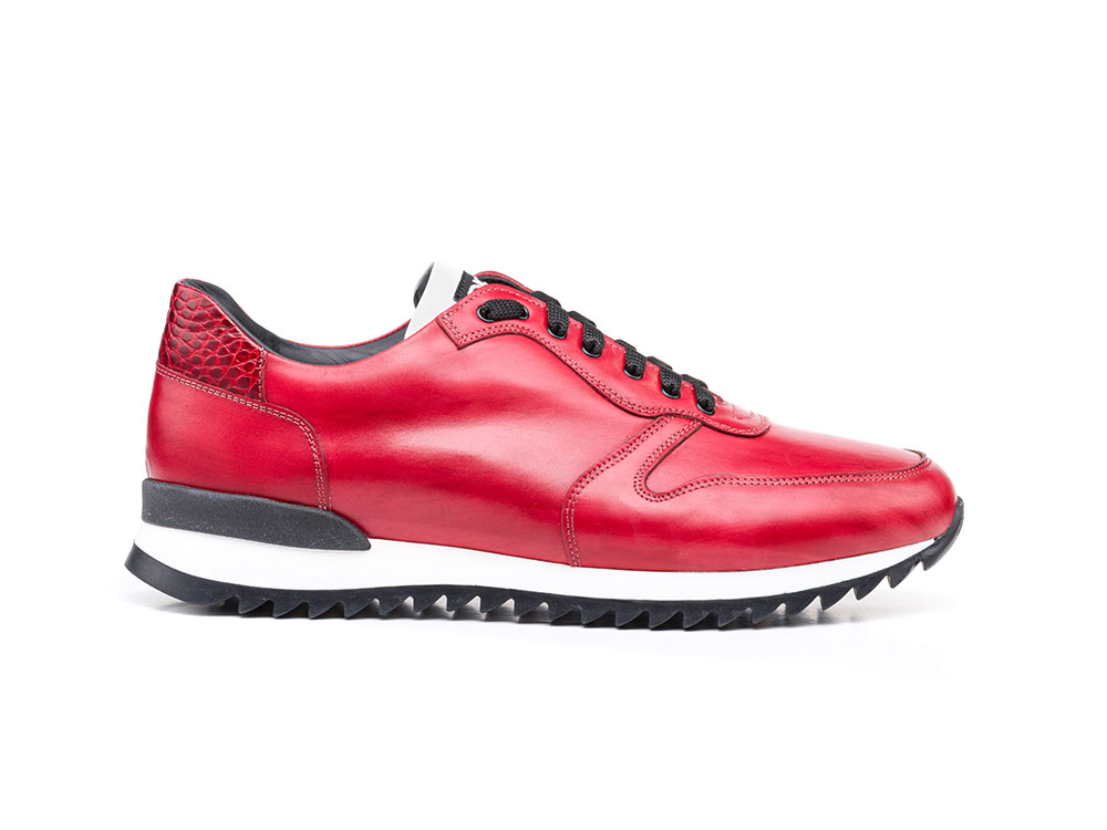 low top running red croco deco