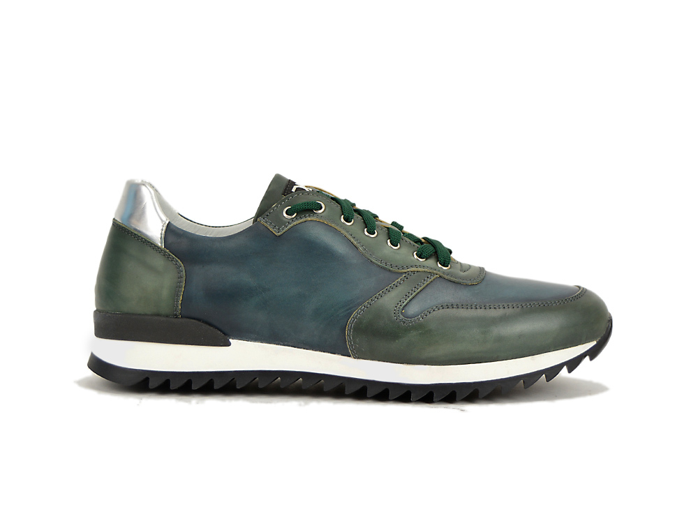 low top running green and blue deco leather