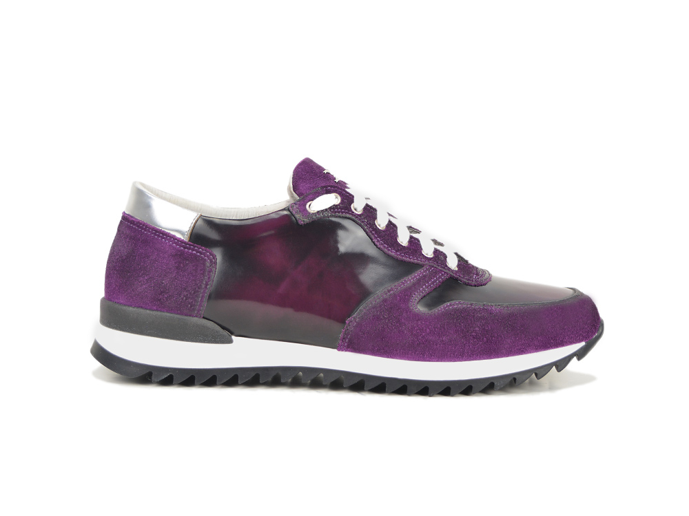 low top running polished suede violet leather