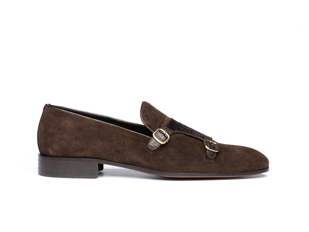 coffee suede crocco leather double monk