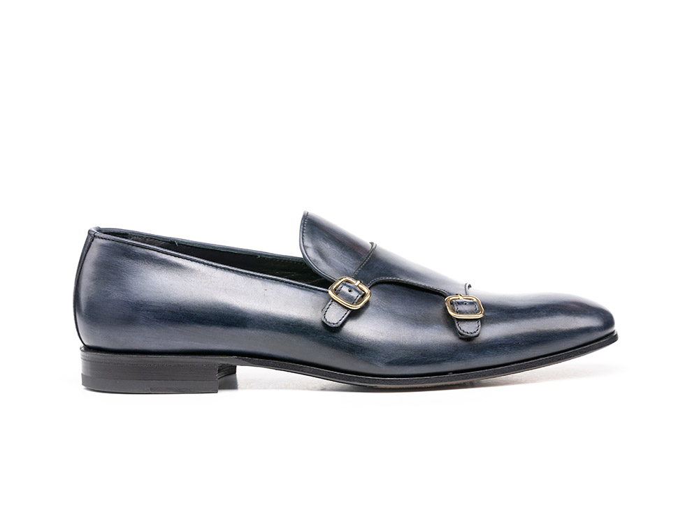 deco leather navy double monk