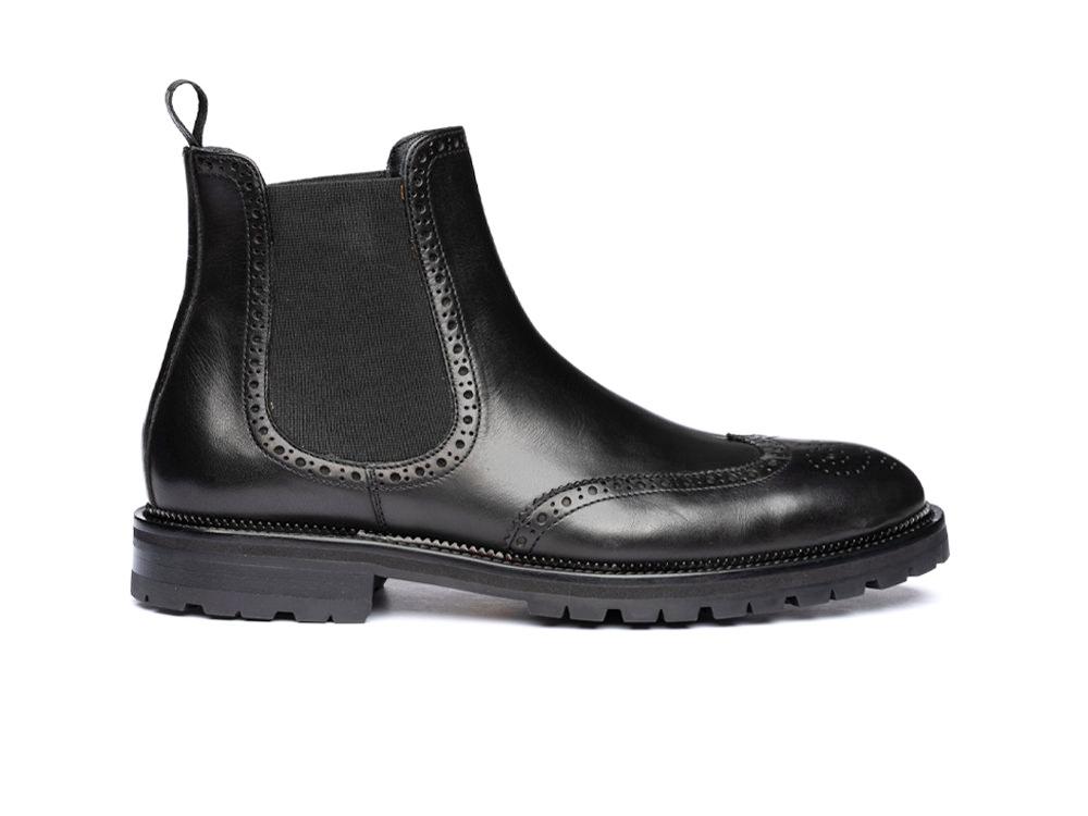 black calf leather men chelsea boot