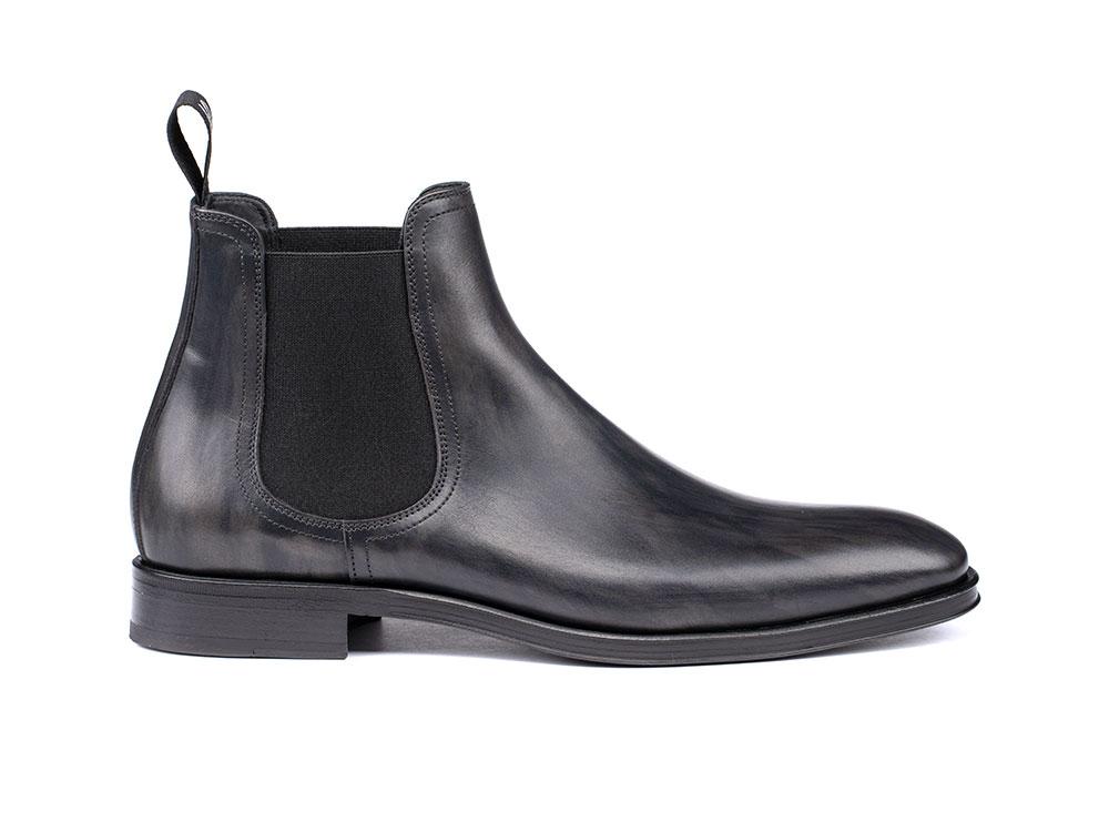 grey deco leather men chelsea boot