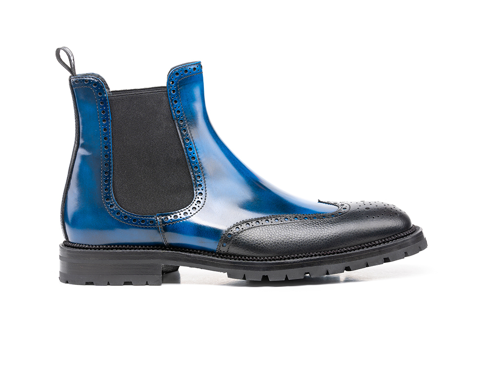 polished blue grain black men chelsea boot