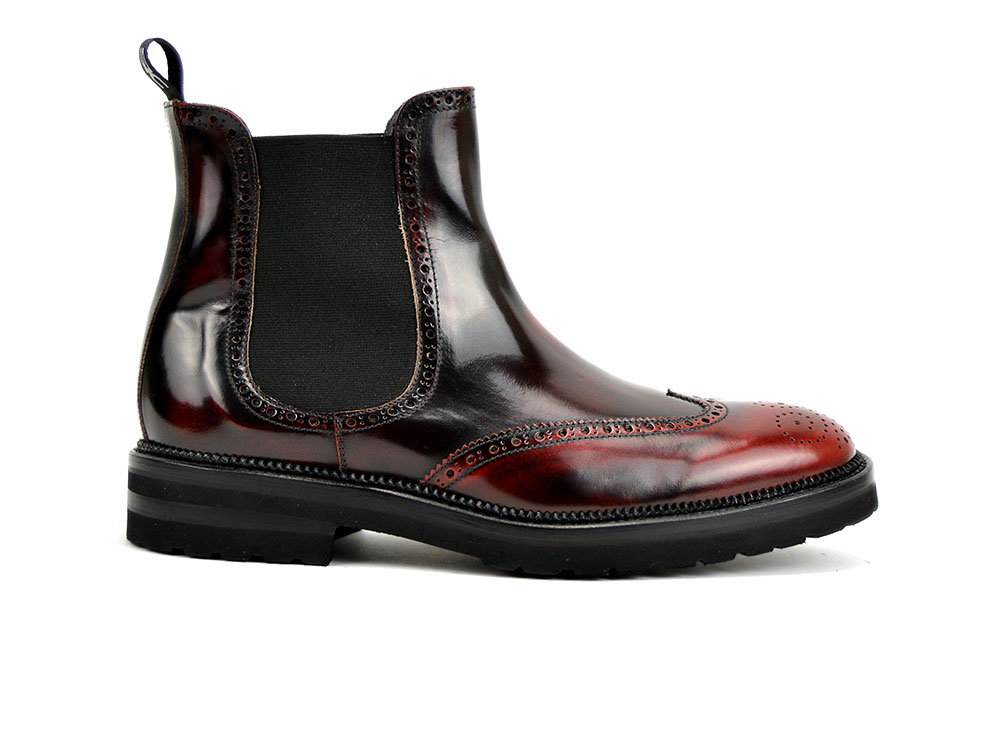 burgundy polished leather men chelsea wing brogue boot