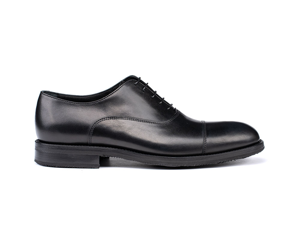 black calf leather men toe cap