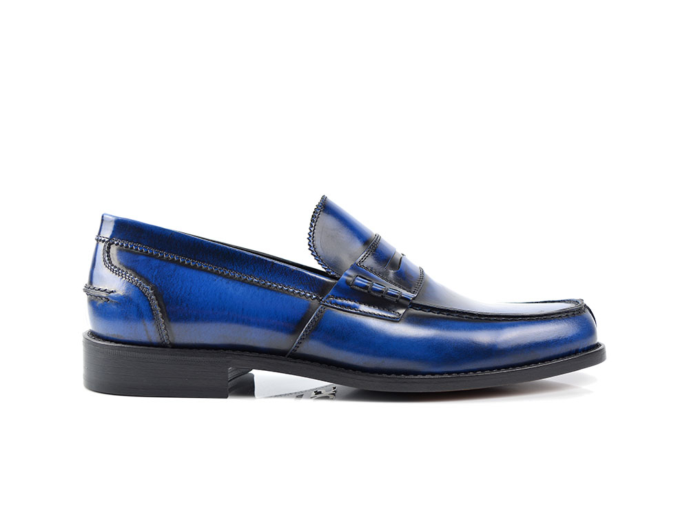 blue polished leather men college