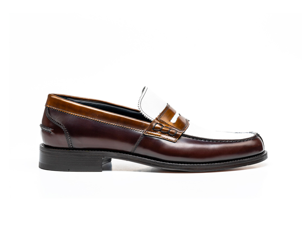 bronze polished white calf college loafer